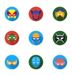Superhero mask set icons in flat style big vector