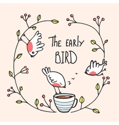 The early bird saying with birds and coffee vector