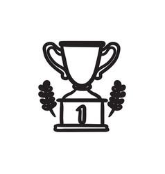Trophy sketch icon vector