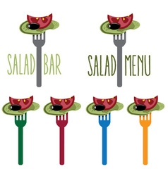 vegetarian salad on the fork vector image vector image