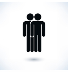 Black two people man figure with drop shadow vector