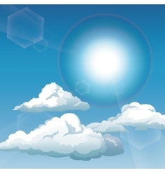 blue sky clouds sunny day vector image