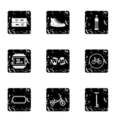Cycling icons set grunge style vector image