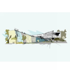Architectural sketch of building vector image