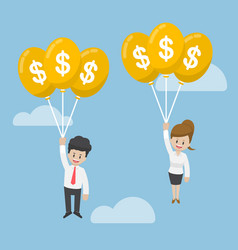 Businessman and businesswoman flying with dollar vector