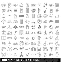 100 kindergarten icons set outline style vector
