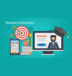 Business banner - distance education vector