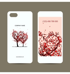Mobile phone cover back and screen love tree for vector