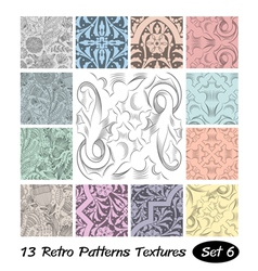 13 retro patterns textures set 6 vector