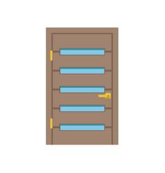 Modern wooden door with glass closed elegant door vector