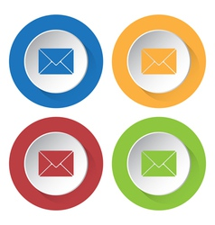 Set of four icons with mailing envelope vector