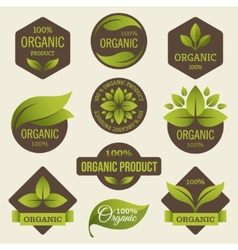 Organic products labels vector