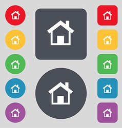 Home main page icon sign a set of 12 colored vector