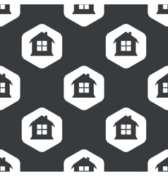 Black hexagon house pattern vector