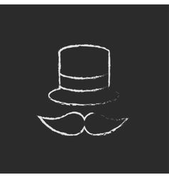 Hat and mustache icon drawn in chalk vector