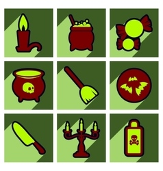 Flat with shadow concept halloween stylish icons vector