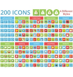 Set of 200 icons for web and mobile vector