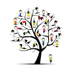 Yoga practice tree vector
