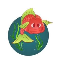 Red fish and a shell with a pearl vector