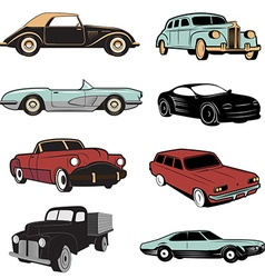 Set of retro cars in vector