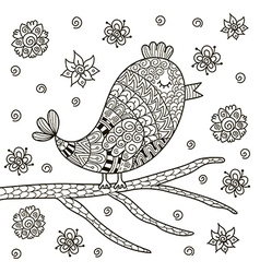 Cute zentangle bird sitting on branch vector