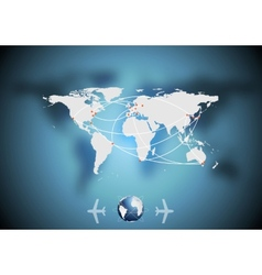 Air traffic background with world map vector