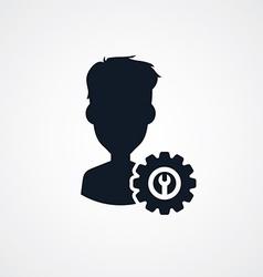 avatar portrait cog setting icon theme vector image