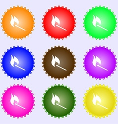 Burning match icon sign big set of colorful vector