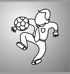 businessman playing soccer doodle vector image vector image