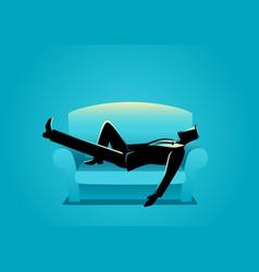 Businessman taking a nap on sofa vector
