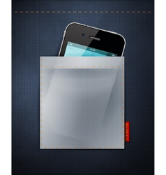 cell phone in a pocket of jeans vector image vector image