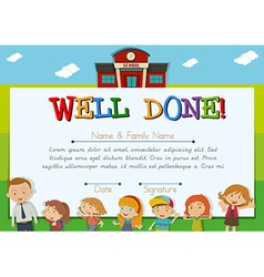 Certificate with children at school background vector
