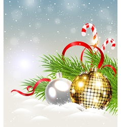Christmas background with shining golden decoratio vector image vector image