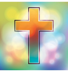Colorful cross and bokeh lights vector image