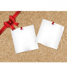 cork bulletin board with ribbon vector image vector image