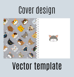 Cover design with fur cats pattern vector
