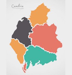 Cumbria england map with states and modern round vector