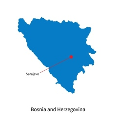 Detailed map of Bosnia and Herzegovina and capital vector image vector image