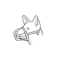 Dog with muzzle sketch icon vector image vector image