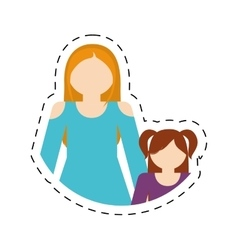 Family mother and daughter funny cut line vector