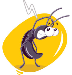 fearful cockroach insect cartoon vector image