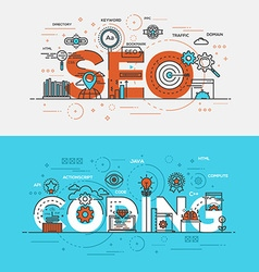 Flat design line concept banner Seo and vector image