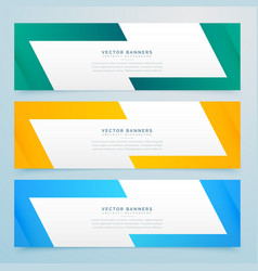 Geometric web banners set in different colors vector
