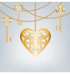 Gray background with pearl gold keys vector