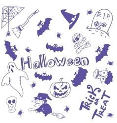 Halloween characters doodle art vector