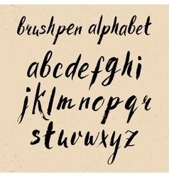 Hand drawn brushpen alphabet vector image