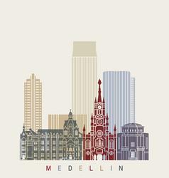medellin skyline in poster vector image vector image