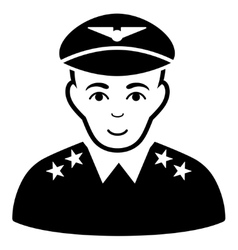 Military pilot officer flat icon vector
