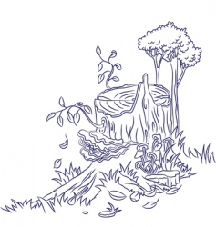 old stump doodle vector image