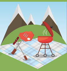 Picnic grilled food blanket mountains vector